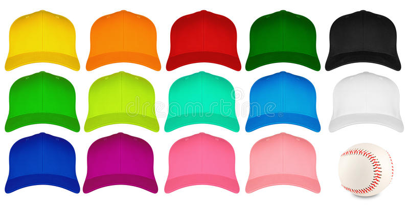 Reeks kleurrijke honkbalkappen royalty-vrije stock foto's