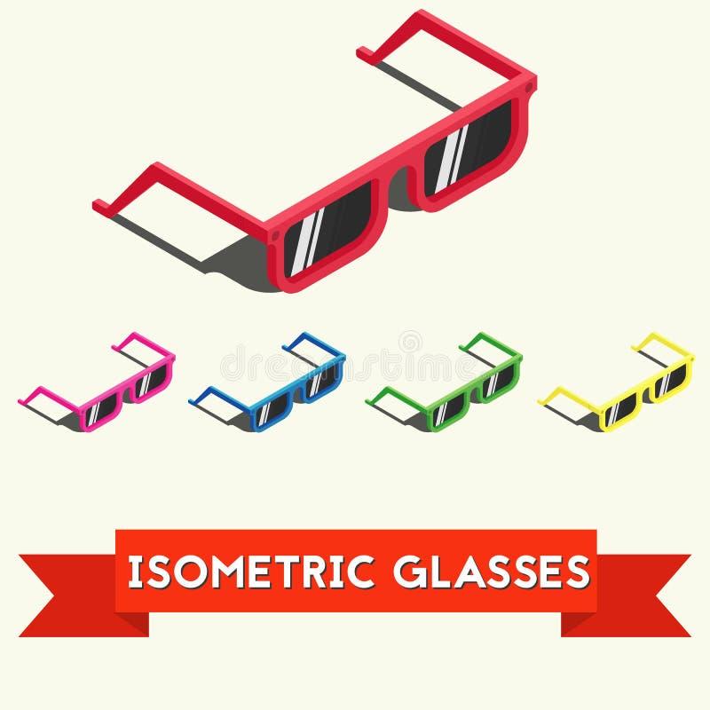 Reeks kleurrijke isometrische de zomerzonnebril met schaduw Isometrische vectordieillustratie op witte achtergrond wordt geïsolee vector illustratie