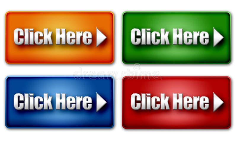Reeks Kleurrijke Knopen van het Klik hier Web vector illustratie