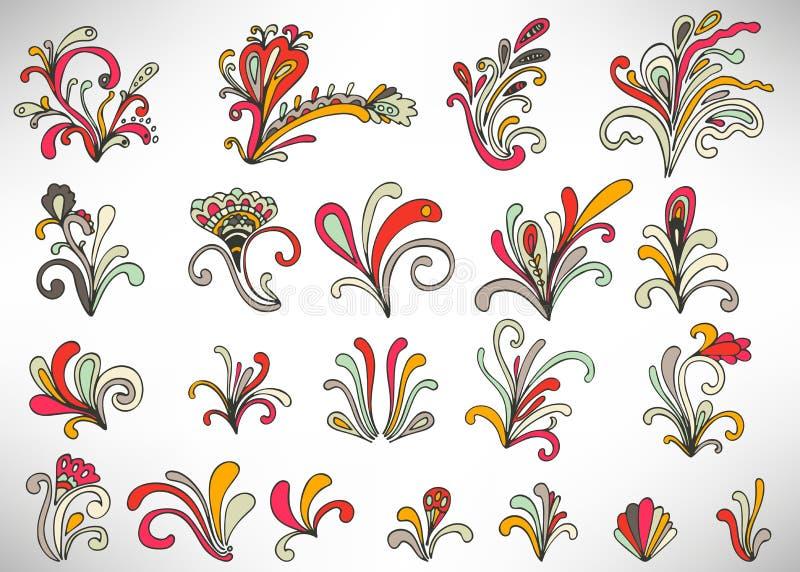 Reeks kleurrijke krabbel bloemenelementen met bloemen, krullen, takken en bladeren royalty-vrije illustratie