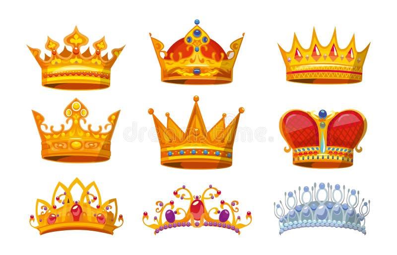 Reeks kleurrijke kronen in beeldverhaalstijl Koninklijke kronen van goud voor koning, koningin en prinses De inzameling van de kr vector illustratie