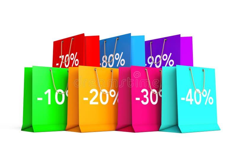 Reeks Kleurrijke Lege het Winkelen Zakken met de Tekens van de Percentenkorting stock illustratie
