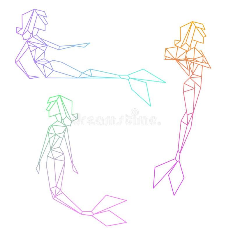 Reeks kleurrijke lineaire meerminnen van de gradiëntveelhoek vector illustratie