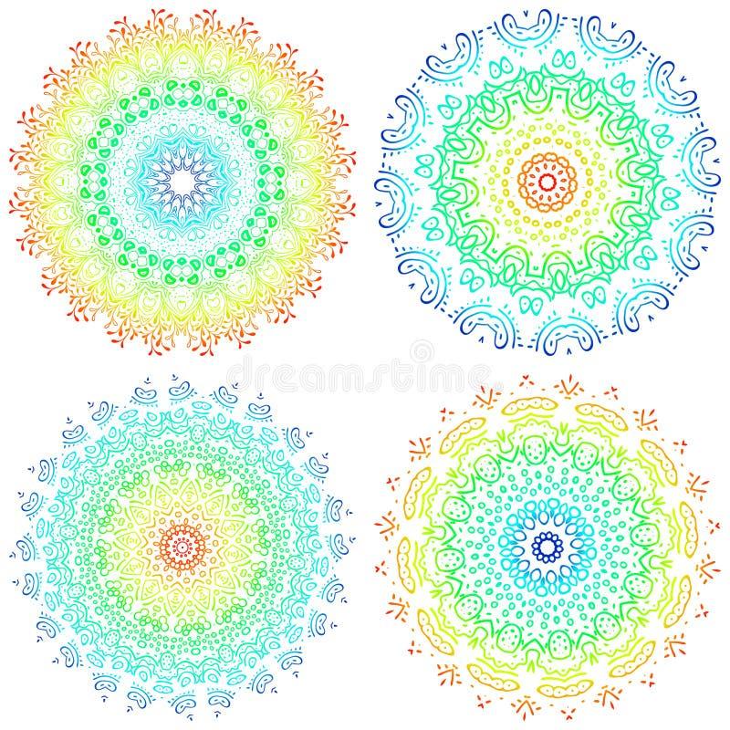 Reeks kleurrijke mandalas Ronde mandalaornamenten Antistresstherapiemandalas Mandalas van het weefselpatroon Het mandal embleem v stock illustratie