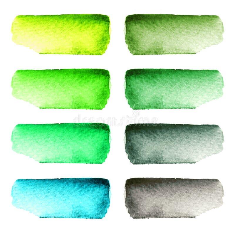 Reeks kleurrijke met de hand geschilderde die slagen van de waterverfborstel op witte achtergrond worden geïsoleerd royalty-vrije illustratie
