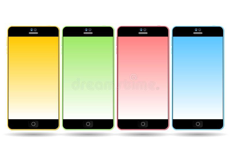Reeks kleurrijke mobiele slimme telefoons vector illustratie