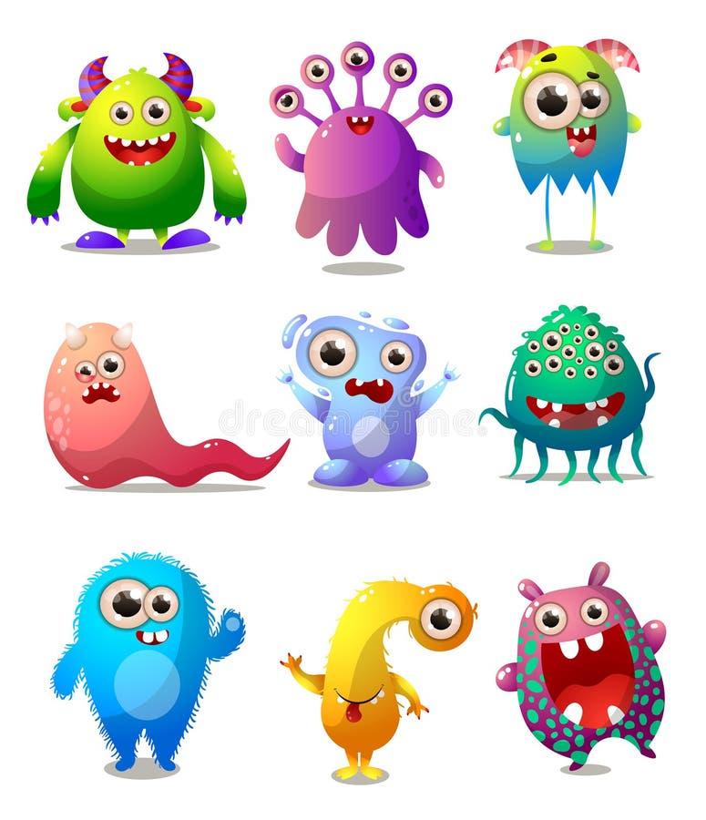 Reeks kleurrijke monsters, animatorkostuum, grappig karakter stock illustratie