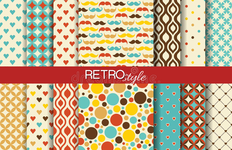 Reeks kleurrijke naadloze retro vectorpatronen royalty-vrije illustratie