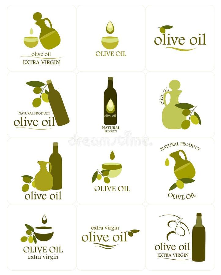 Reeks kleurrijke olijfolieetiketten vector illustratie