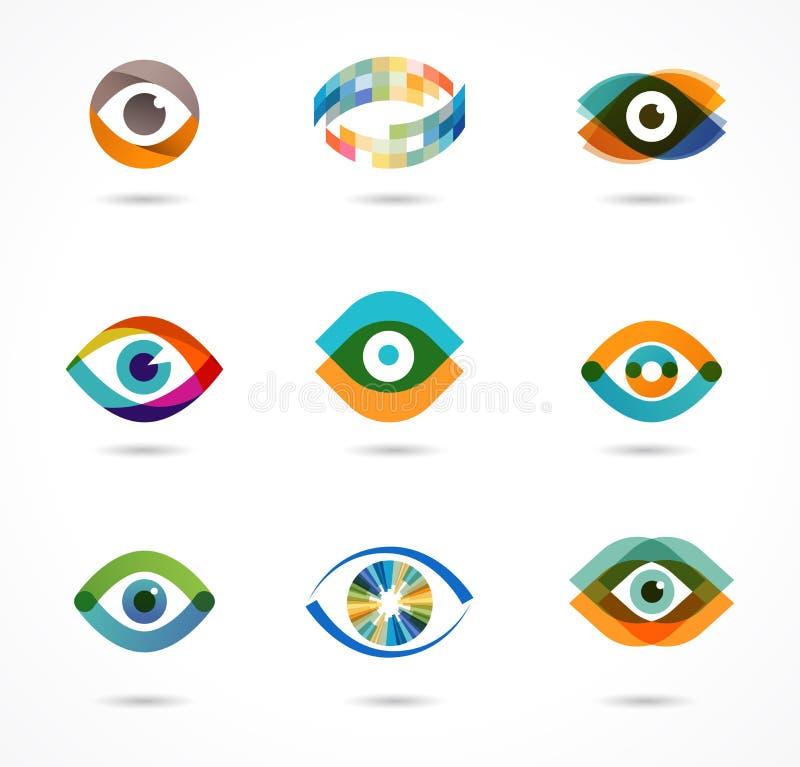 Reeks kleurrijke oogpictogrammen vector illustratie