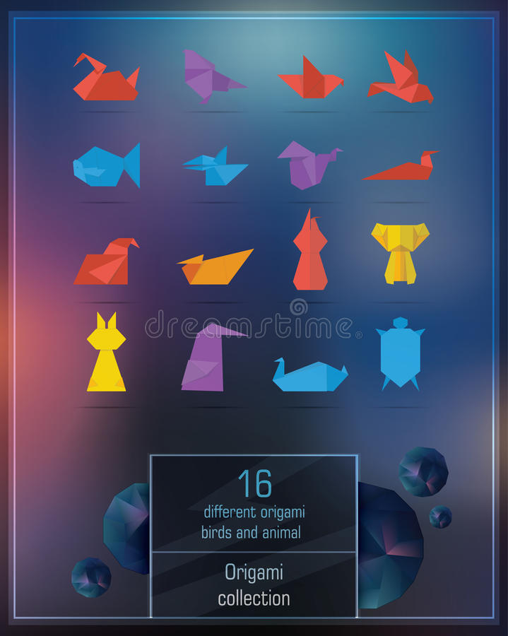 Reeks kleurrijke origamidieren stock fotografie
