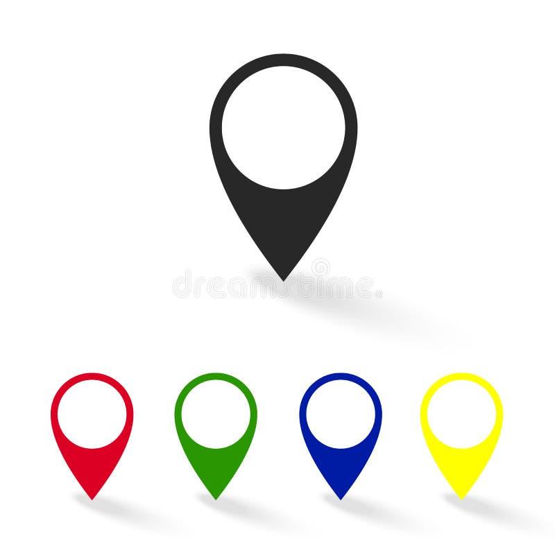 Reeks kleurrijke pictogrammen van de kaartwijzer GPS-plaatssymbool stock afbeeldingen