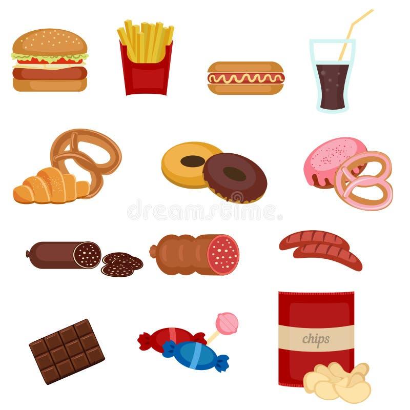 Reeks kleurrijke pictogrammen van het beeldverhaal snelle voedsel stock illustratie
