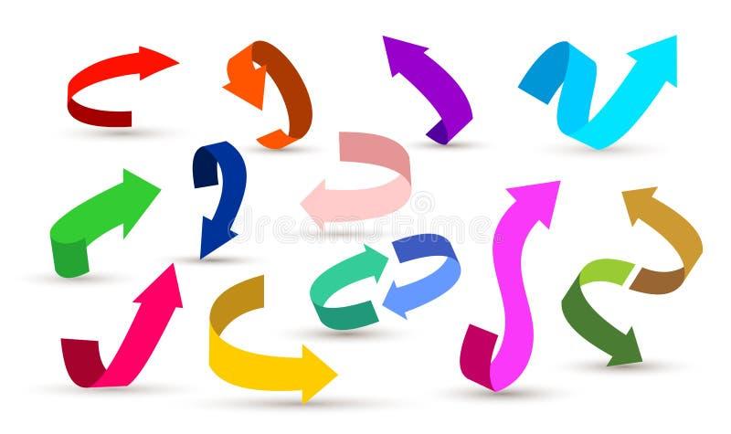 Reeks kleurrijke pijlsymbolen Gebogen op, onderaan, de illustratie van verlaten en juiste pijlpictogrammen Ge?soleerdj op witte a royalty-vrije illustratie