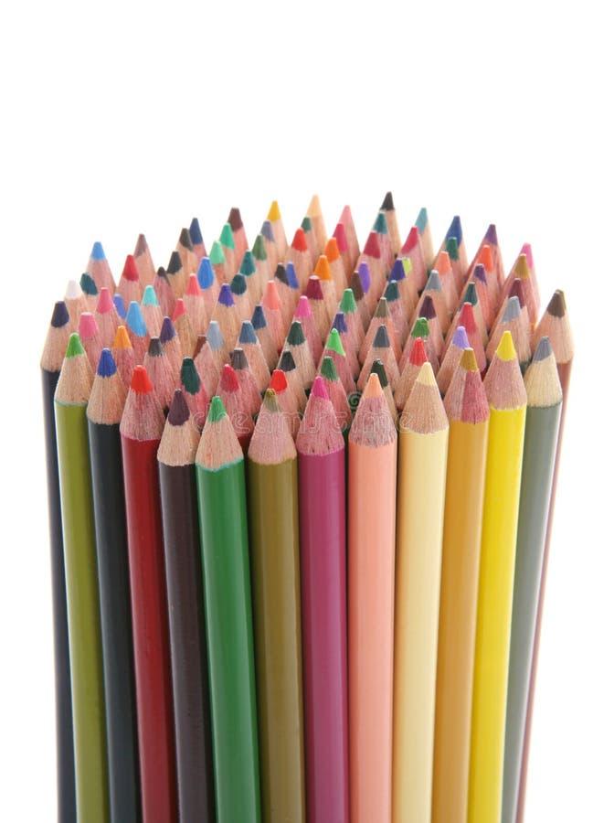 Reeks kleurrijke potloden stock afbeeldingen