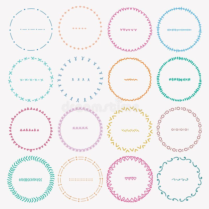 Reeks Kleurrijke Ronde Kaders voor Decoratie vector illustratie