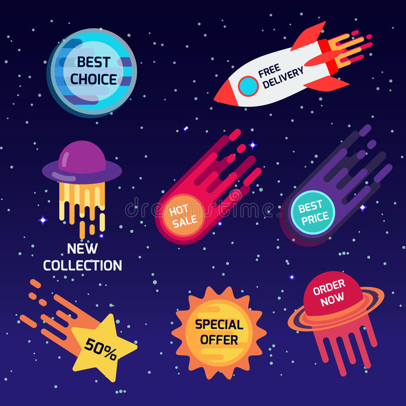 Reeks kleurrijke ruimtestickers, banners Beste keus, nieuwe inzameling, speciale aanbieding, vrije levering, hete verkoop Vector stock illustratie