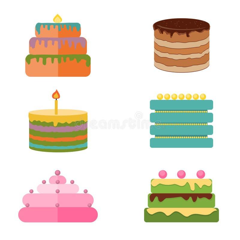 Reeks kleurrijke smakelijke stukkencakes, pastei, en andere pictogrammen van bakkerijdesserts stock illustratie