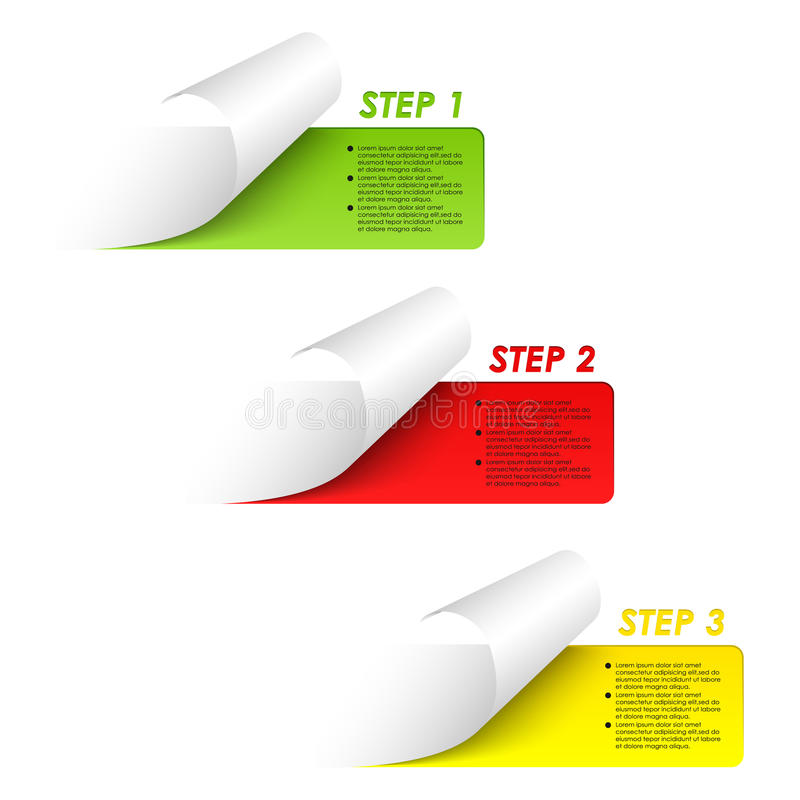 Reeks kleurrijke stickers van steekproefstappen royalty-vrije illustratie