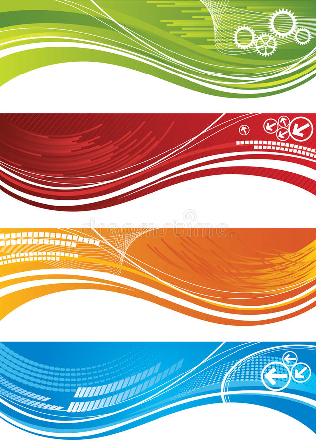 Reeks kleurrijke technische banners stock illustratie