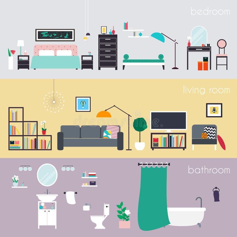 Reeks kleurrijke vector binnenlandse ruimten van het ontwerphuis met furnitur vector illustratie