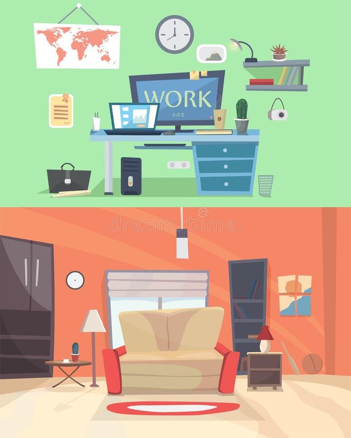 Reeks kleurrijke vector binnenlandse ruimten van het ontwerphuis met meubilairpictogrammen: woonkamer, slaapkamer Vlakke stijlill vector illustratie