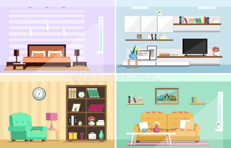 Reeks kleurrijke vector binnenlandse ruimten van het ontwerphuis met meubilairpictogrammen: woonkamer, slaapkamer Vlakke stijl vector illustratie