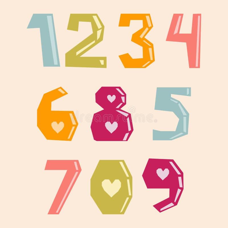 Reeks kleurrijke vectornummer 0-9 met harten en document besnoeiingseffect vector illustratie
