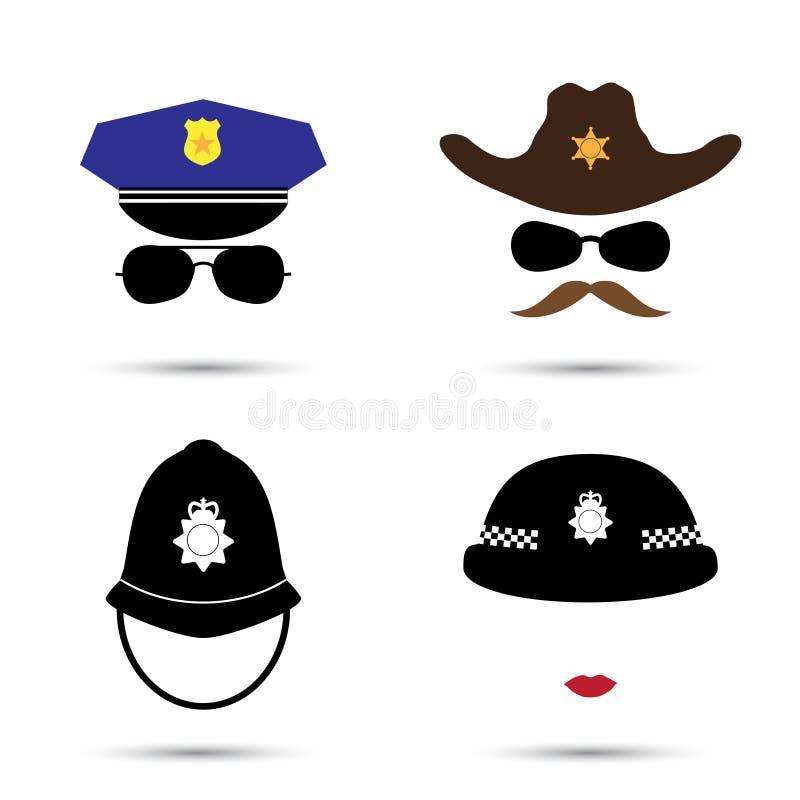 Reeks kleurrijke vectorpictogrammen op wit Politieagentpictogram Sheriffpictogram Cowboypictogram Britse politie vector illustratie