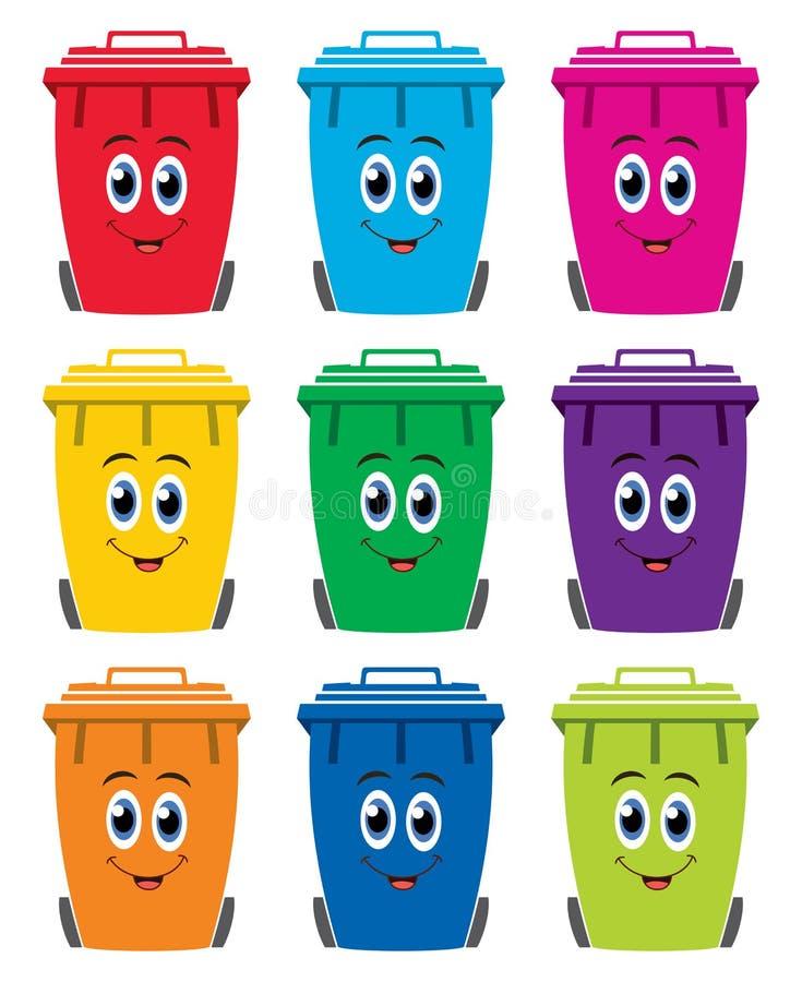 Reeks kleurrijke vlakke pictogrammen van de recyclings wheelie bak royalty-vrije illustratie