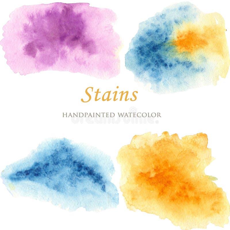 Reeks kleurrijke waterverfvlekken royalty-vrije illustratie