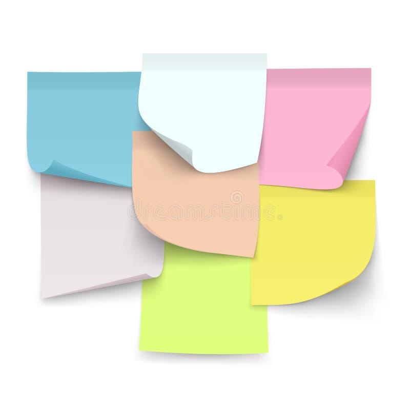 Reeks kleverige kleurennota's Bladen van document met gekrulde hoeken stock illustratie