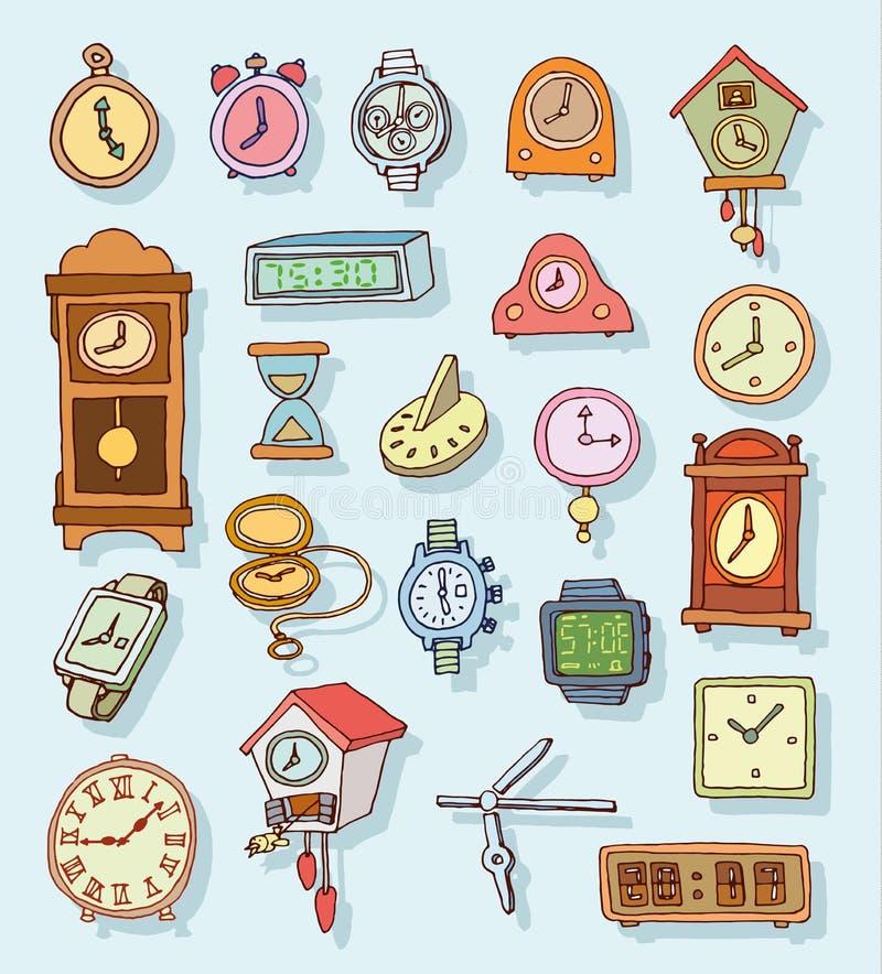 Reeks klokken en horloges, Hand getrokken vectorillustratie royalty-vrije illustratie