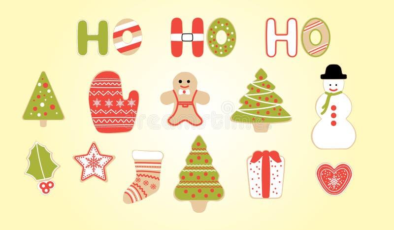 Reeks koekjes van Kerstmis De verfraaide vectorinzameling van Kerstmiskoekjes royalty-vrije illustratie