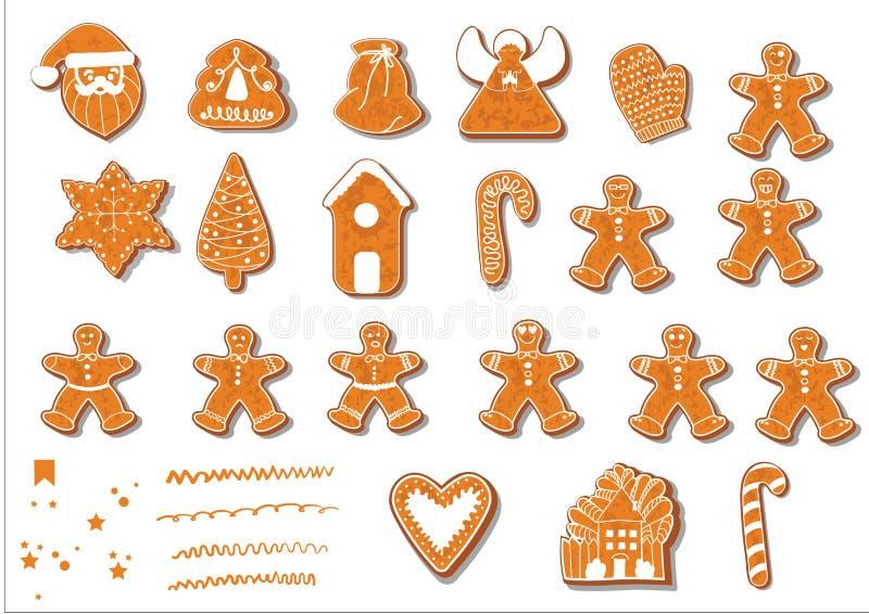 Reeks koekjes van Kerstmis Reeks verschillende peperkoekkoekjes voor Kerstmis Kerstmiskarakters van de Kerstmispeperkoek royalty-vrije illustratie