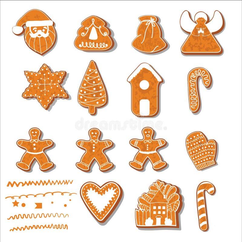 Reeks koekjes van Kerstmis Reeks verschillende peperkoekkoekjes voor Kerstmis Nieuwjaarpeperkoek in de vorm van Kerstmis vector illustratie