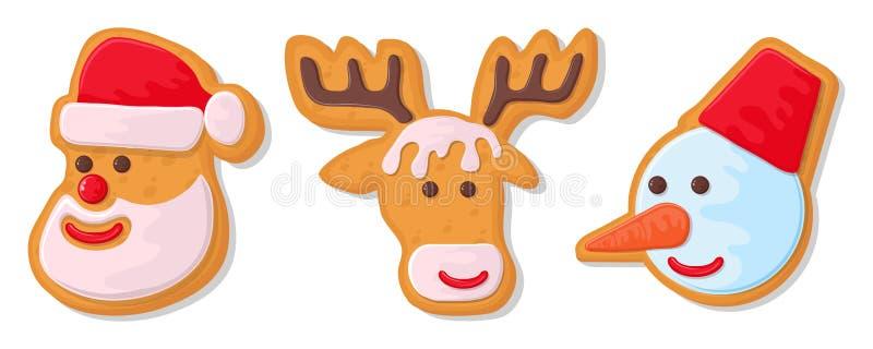 Reeks koekjes van Kerstmis Reeks verschillende peperkoekkoekjes voor Kerstmis Nieuwjaarpeperkoek in de vorm van Kerstmis stock illustratie