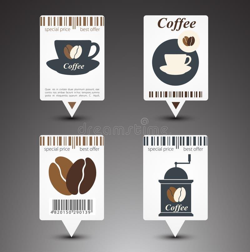 Reeks koffieetiketten stock illustratie