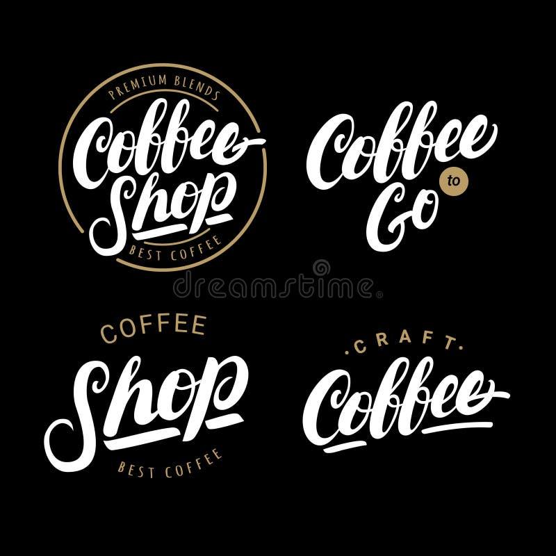Reeks koffiehand geschreven van letters voorziende emblemen, etiketten, kentekens royalty-vrije illustratie