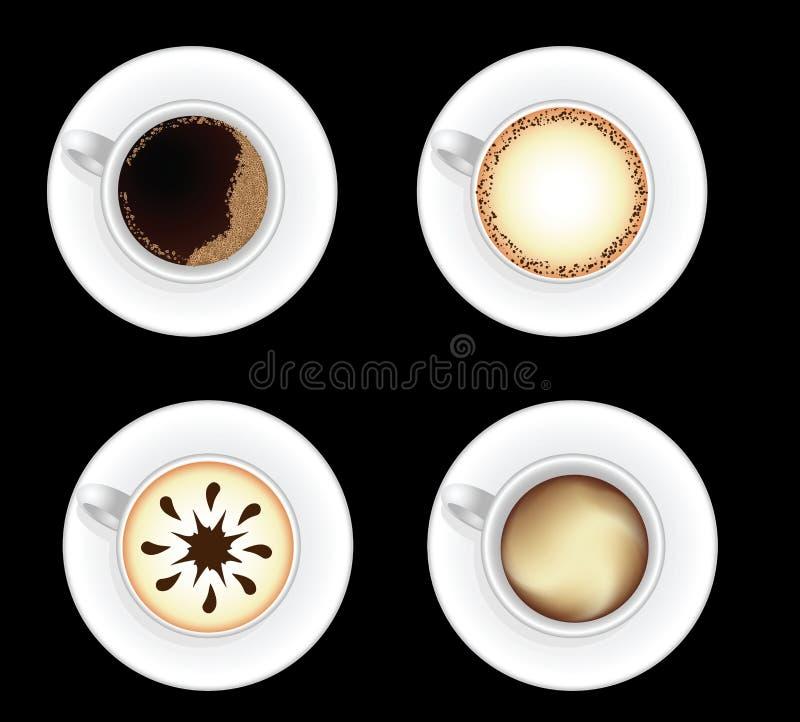 Reeks koffiekoppen die op zwarte wordt geïsoleerdh royalty-vrije illustratie