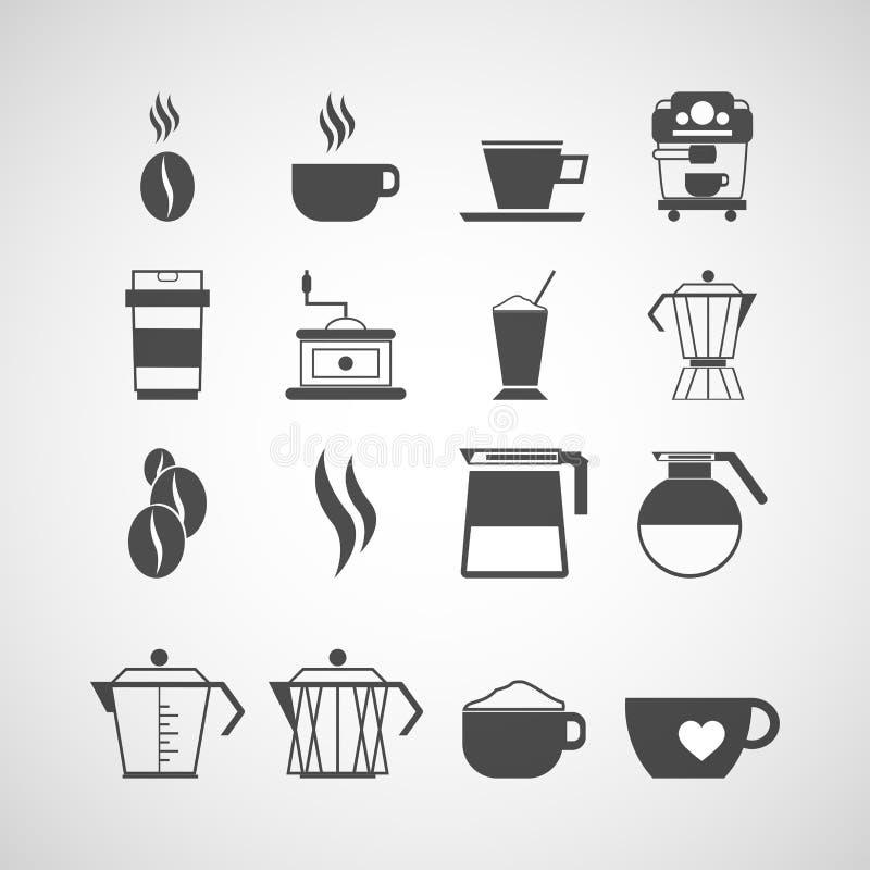 Reeks koffiemateriaal en toebehoren royalty-vrije illustratie