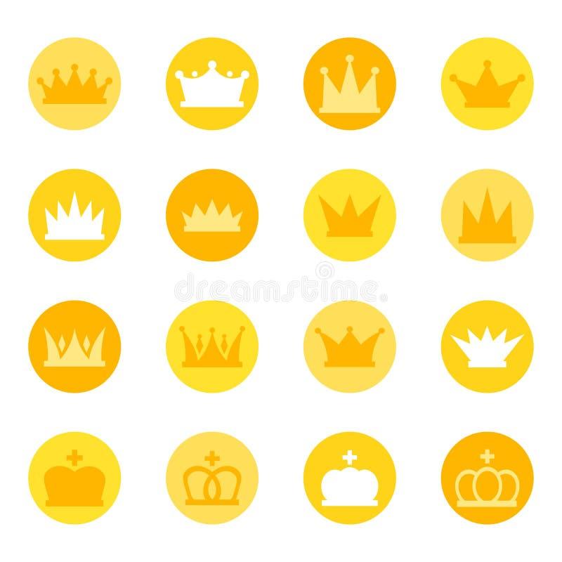 Reeks koninklijke kronen op kleurenachtergrond, illustratie royalty-vrije illustratie