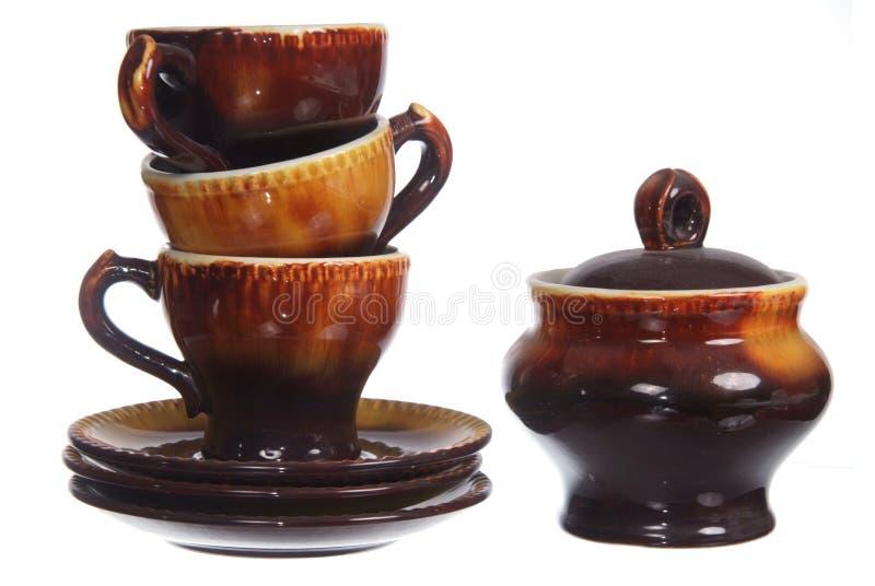 Reeks koppen en sugarbowl royalty-vrije stock afbeeldingen