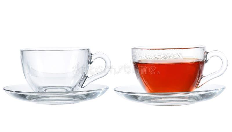 Reeks koppen met thee op witte achtergrond wordt geïsoleerd die royalty-vrije stock fotografie