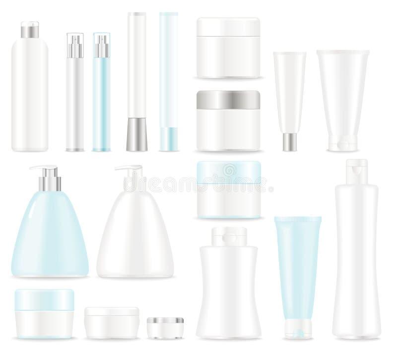 Reeks kosmetische pakketten vector illustratie
