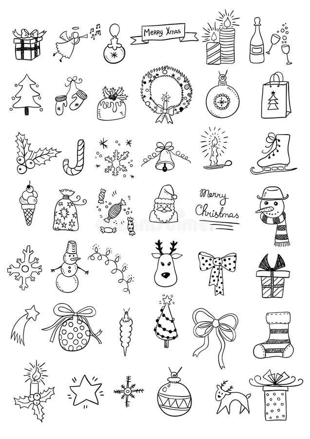 Reeks krabbels van Kerstmis vector illustratie