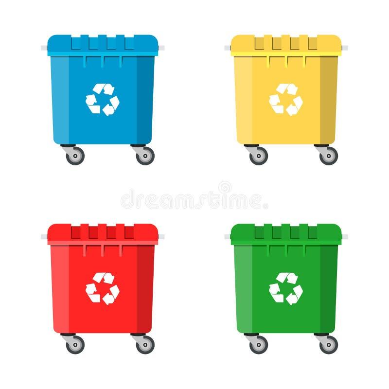 Reeks Kringloopbakken voor Afval en Huisvuil stock illustratie