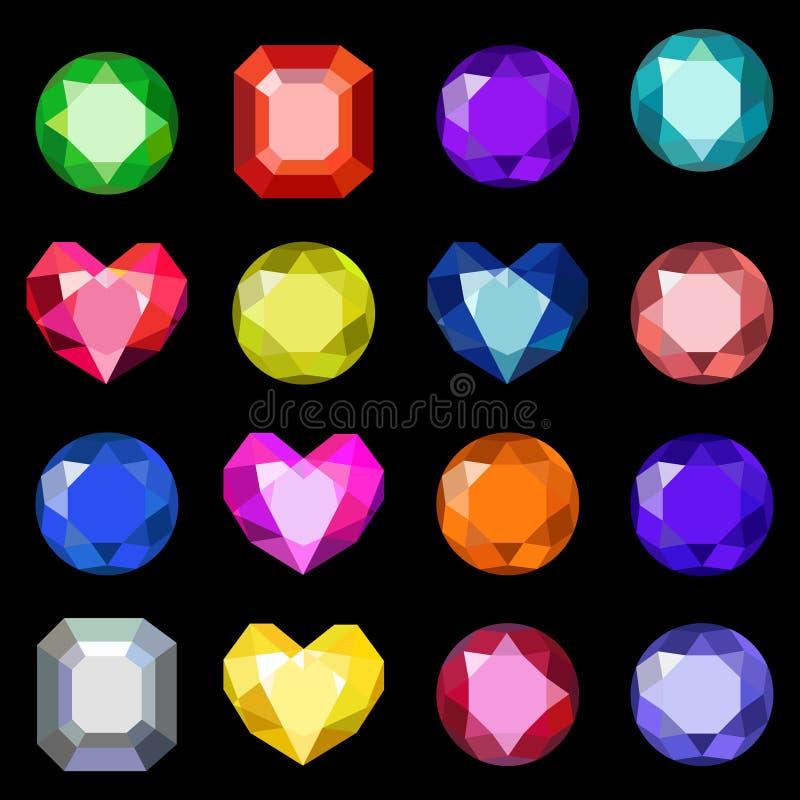 Reeks kristallen van de beeldverhaal verschillende kleur, halfedelstenen, gemmen, diamantenvector Vectorbeeld op zwarte achtergro royalty-vrije illustratie