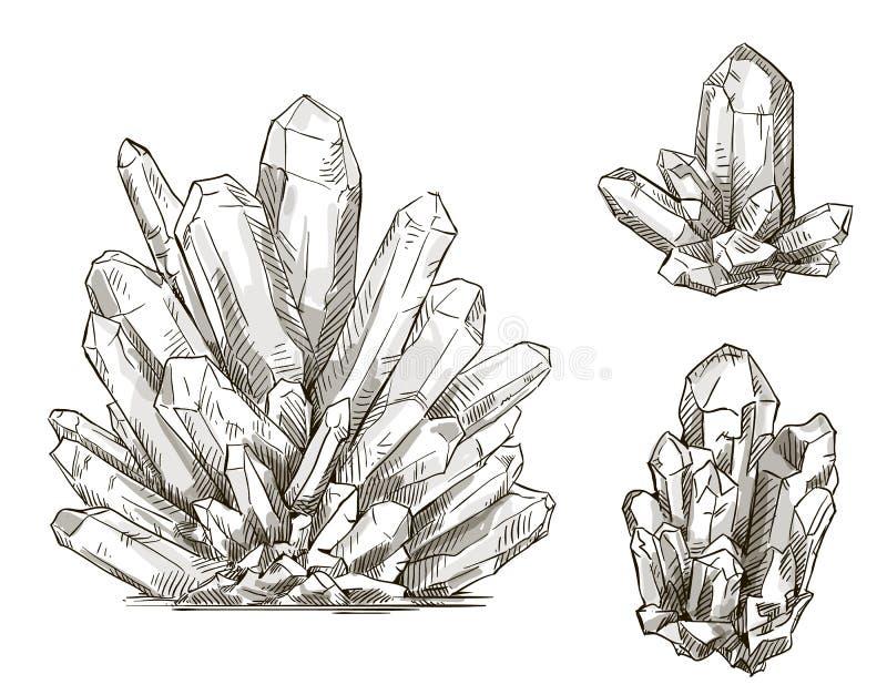 Reeks kristallentekeningen Vector illustratie