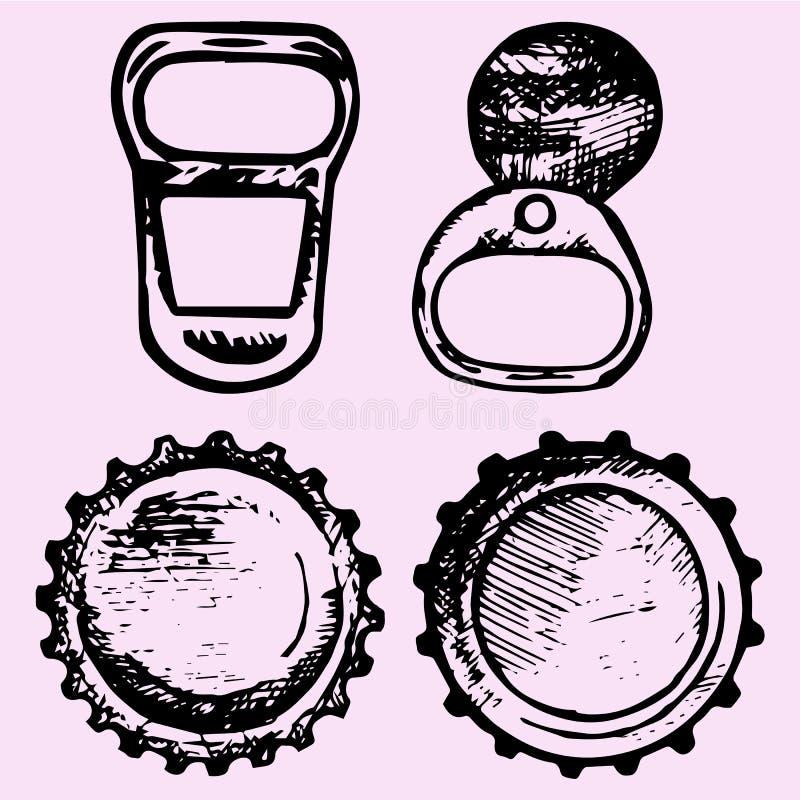 Reeks kroonkurken, de trekkracht van de metaalring vector illustratie
